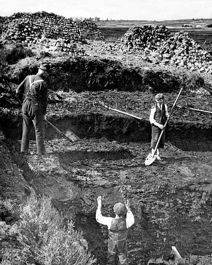 Cutting Peat in Ireland