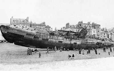 A German Submarine on Hastings Beach