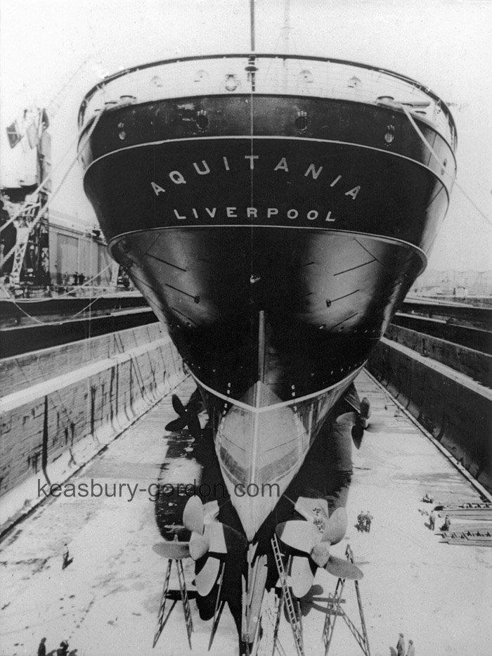 RMS Aquitania in dry dock, Liverpool